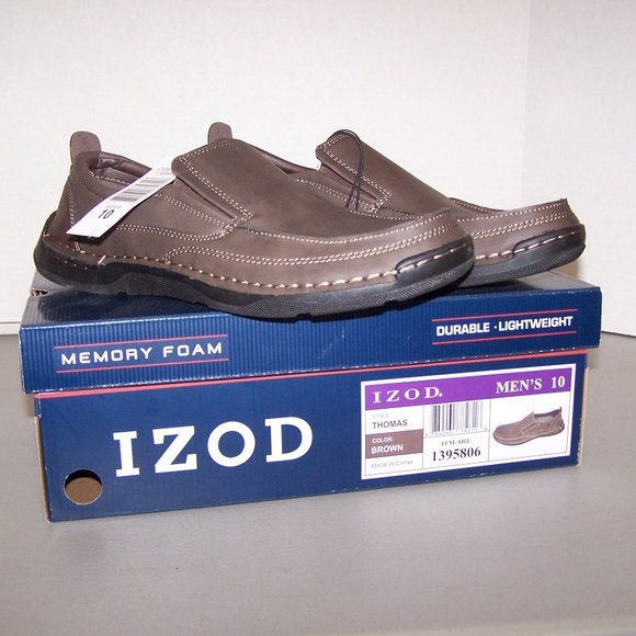 "NEW W/TAGS  ""IZOD"" MEMORY FOAM BROWN LOAFERS S3510"